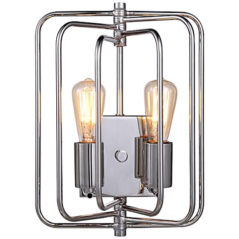 "Lewis 13"" High Polished Nickel Square 2-Light Wall Sconce"