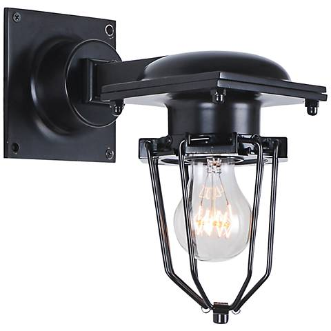 "Kingston 9 1/2"" High Open Cage Black Wall Sconce"