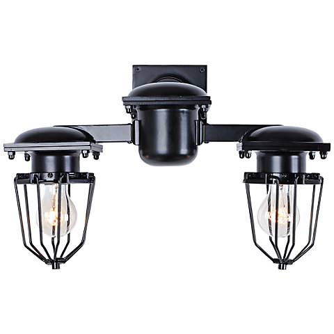 """Kingston 9"""" High Open Cage Black 2-Light Wall Sconce"""