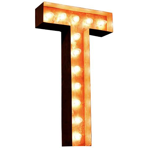"Alphabet T 24"" High Rusted Lighted Marquee Sign"