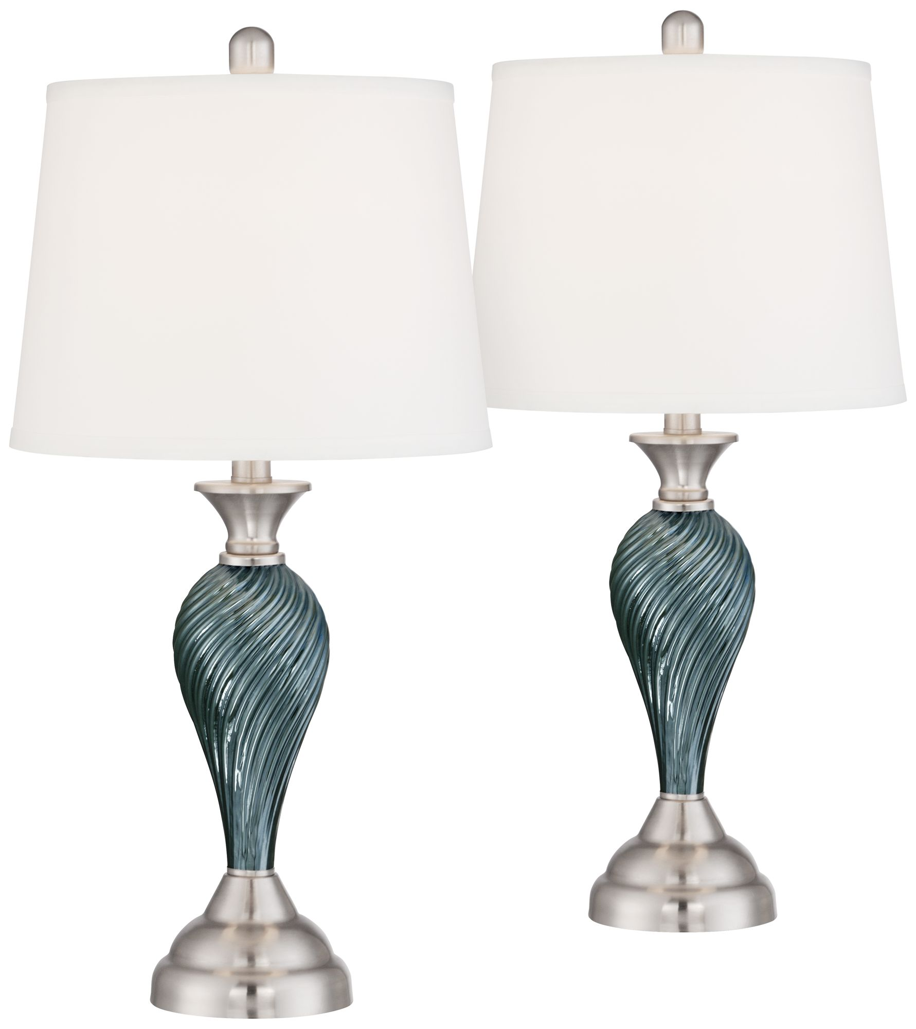 Arden Green Blue Glass Twist Column Table Lamps   Set Of 2