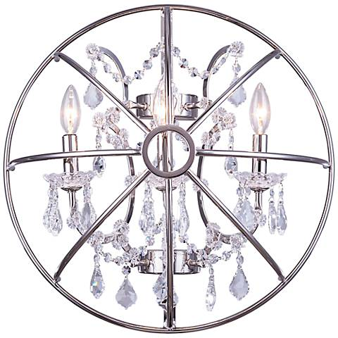 "Geneva 21"" High Polished Nickel Silver Crystal Wall Sconce"