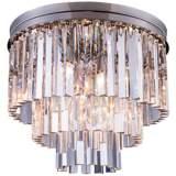 """Sydney 20""""W Polished Nickel Clear Crystal Ceiling Light"""