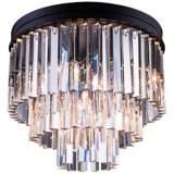 "Sydney 20"" Wide Mocha 3-Tier Clear Crystal Ceiling Light"