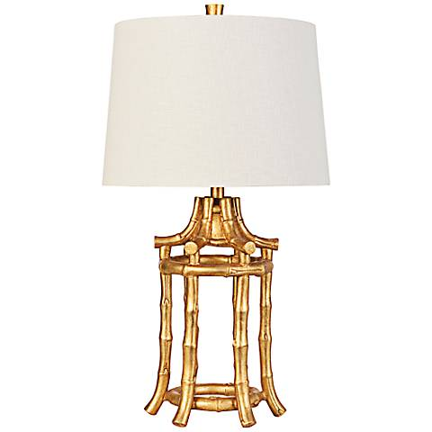 Couture Golden Leaf Bamboo Lantern Table Lamp