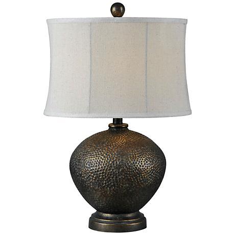 miller oil rubbed bronze hammered table lamp 8m800. Black Bedroom Furniture Sets. Home Design Ideas