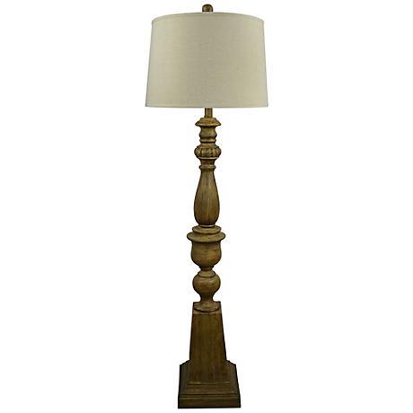Stuart Distressed Wood Candlestick Floor Lamp