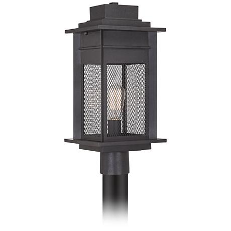 "Dermott 19 1/2""H Black Iron Mesh Screen Outdoor Post Light"