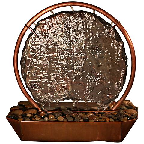 "Moonrise Natural Copper and Slate 18"" HIgh Table Fountain"
