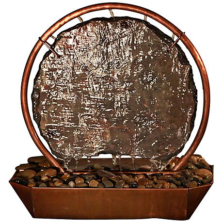 Moonrise Natural Copper and Slate Indoor/Outdoor Table Fountain