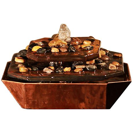 Table Rock Aged Copper and Slate Indoor/Outdoor Table Fountain