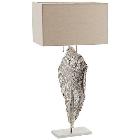Dimond Tall Leaf Nickel Metal Table Lamp