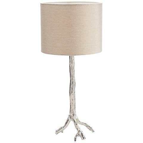 Dimond Tree Branch Bright Nickel Metal Table Lamp