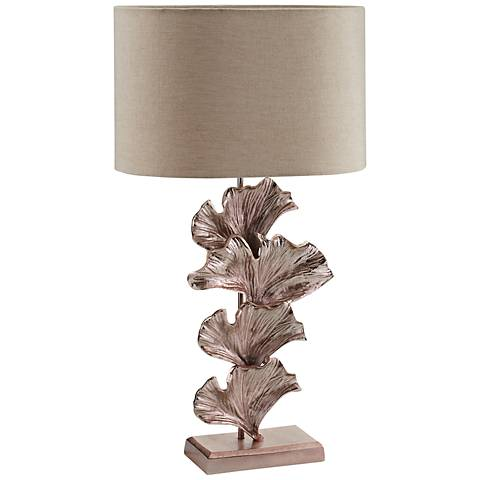 Dimond Ginkgo Leaf Rose Gold Metal Table Lamp
