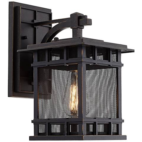 "Evanston 12"" High Bronze Mesh Outdoor Wall Light"