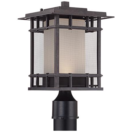 "Screened 15"" High Veranda Bronze LED Outdoor Post Light"