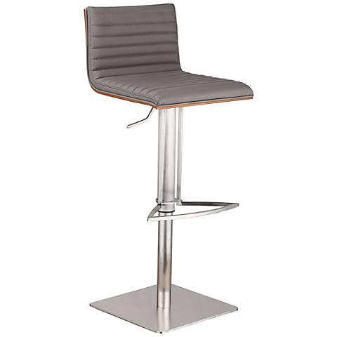 Cafe Gray Faux Leather Stainless Steel Adjustable Barstool