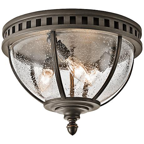"Kichler Halloren 12"" Wide Seedy Glass Outdoor Ceiling Light"