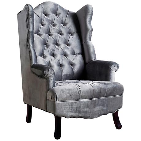 Madison Hand-Crafted Scalloped Gray Velvet Wing Chair