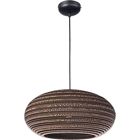 "Maxim Java 17""W 1-Light Recycled Corrugated Black Pendant"