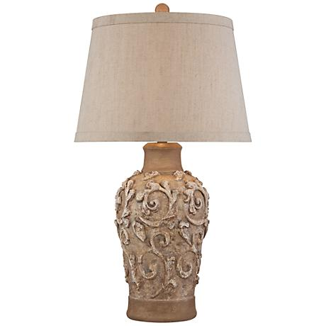 Delia Beige and Silver Pot Table Lamp