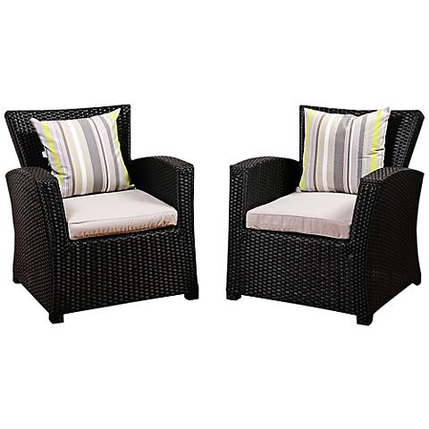 Bronte Black Wicker Outdoor Armchair Set of 2