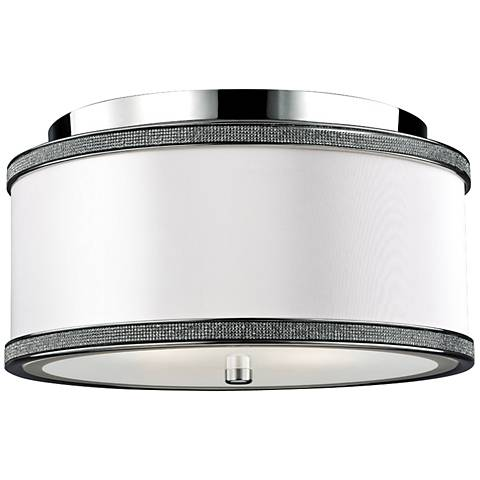 """Feiss Pave 13"""" Wide Polished Nickel Ceiling Light"""