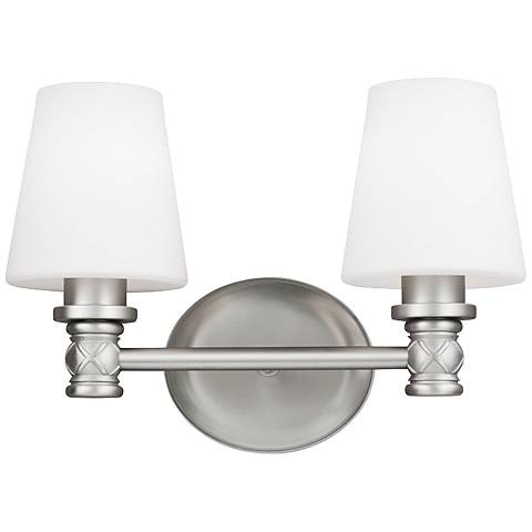 "Feiss Xavierre 14"" Wide Satin Nickel Bath Light"