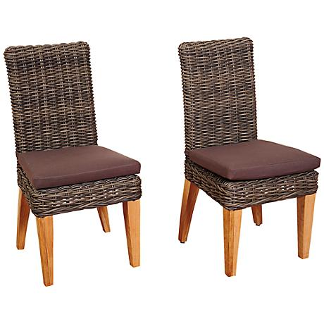 Amazonia Singapore Gray Outdoor Dining Chair Set of 2
