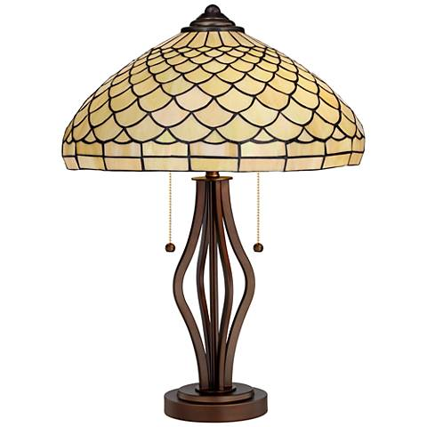 Scalloped Tiffany Style Art Glass Harpo Iron Table Lamp