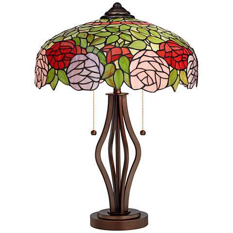 Rose Bloom Tiffany Style Art Glass Harpo Iron Table Lamp