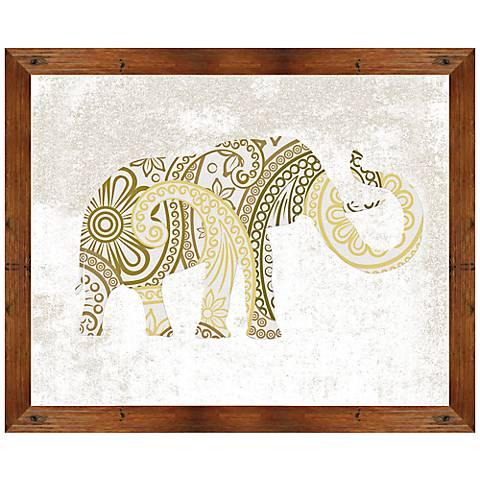 """Boho Gold Elephant 22"""" Wide Framed Giclee Wall Art"""