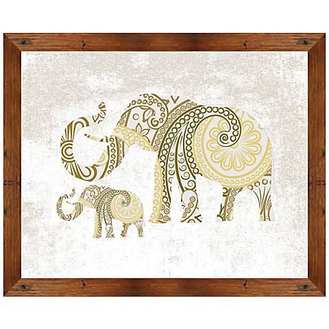 """Boho Gold Elephant II 22"""" Wide Framed Giclee Wall Art"""
