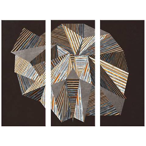 "Facets Giclee Triptych 17 1/2""x42"" Set of 3 Wall Art"
