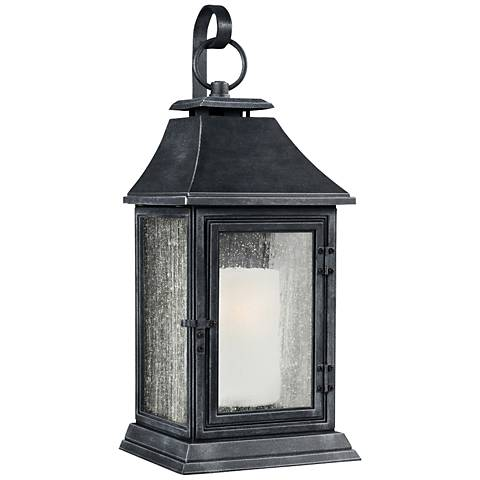 "Feiss Shepherd 35""H Weathered Zinc Outdoor Wall Light"