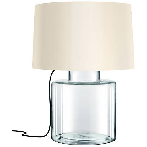 Sonneman Grasso Black French Wired Clear Glass Table Lamp