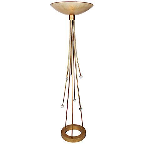 Van Teal Action Sienna Gold Torchiere Floor Lamp