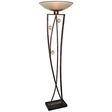 Van Teal Distinctive Weathered Copper Torchiere Floor Lamp