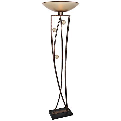 Van Teal Distinctive Weathered Copper Torchiere Floor Lamp