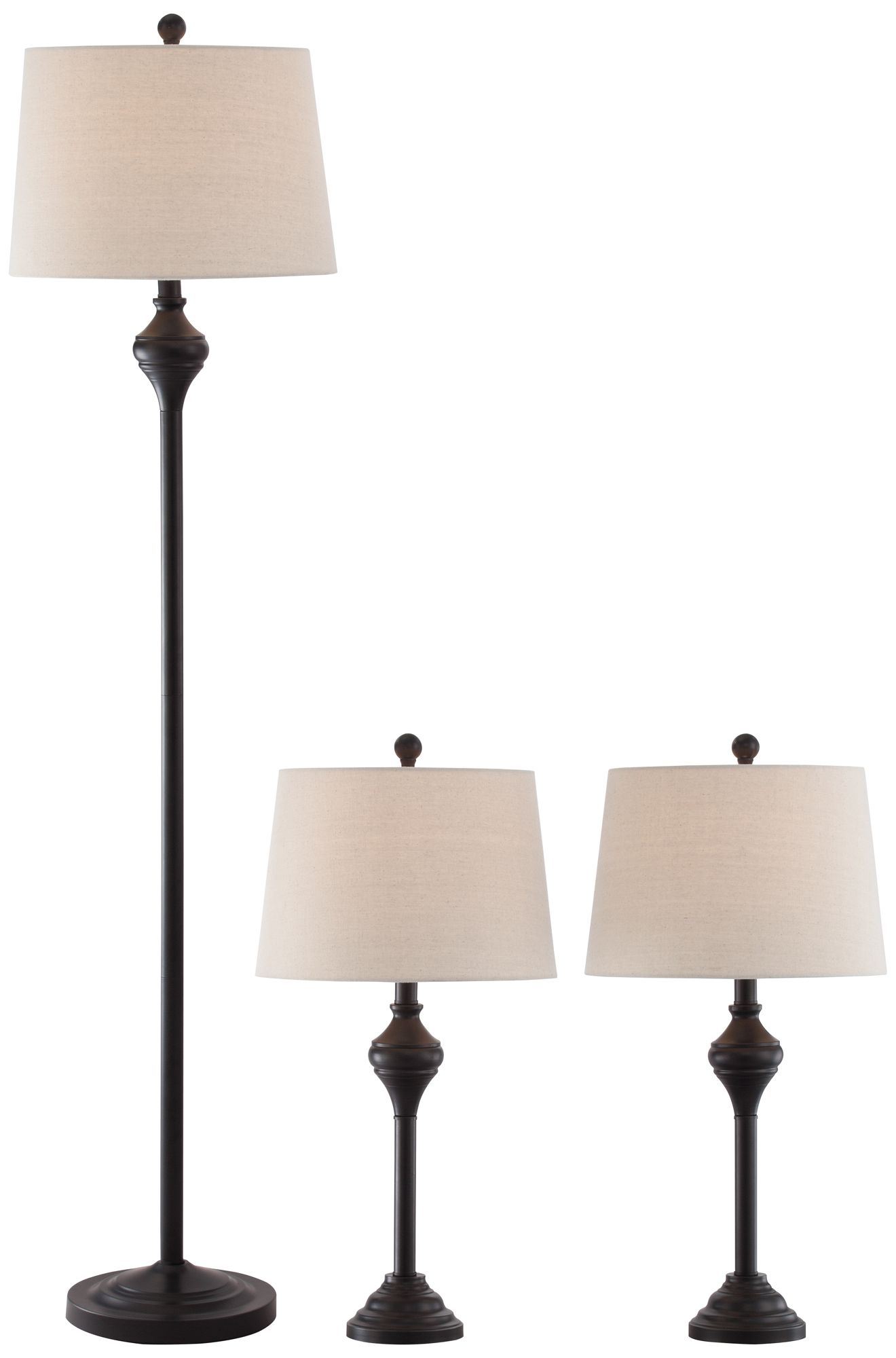Mason Bronze 3 Piece Floor And Table Lamp Set
