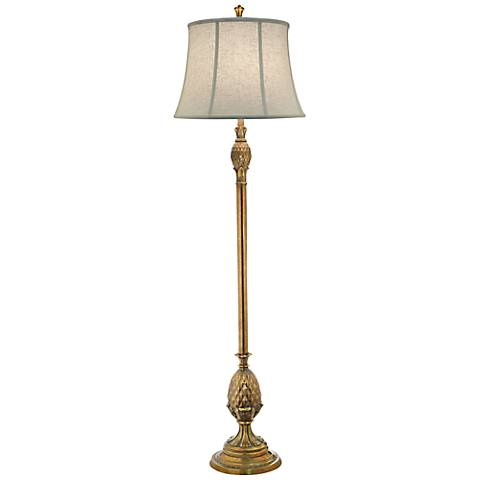 Stiffel Polished Honey Brass Metal Floor Lamp