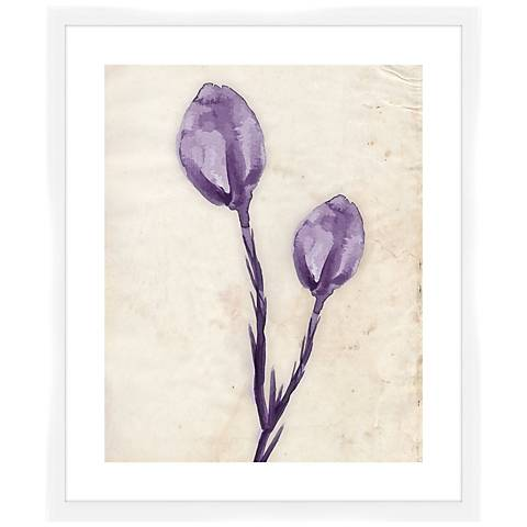 "Purple Watercolor Flowers I 26 1/2"" High Framed Wall Art"