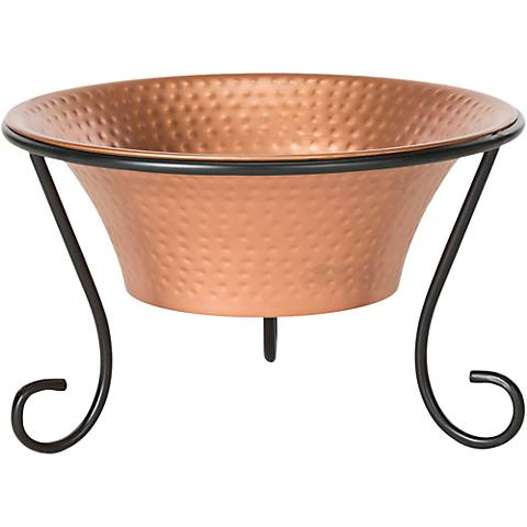 "Rico Black Iron 20"" Wide Round Copper Vessel Fire Pit"