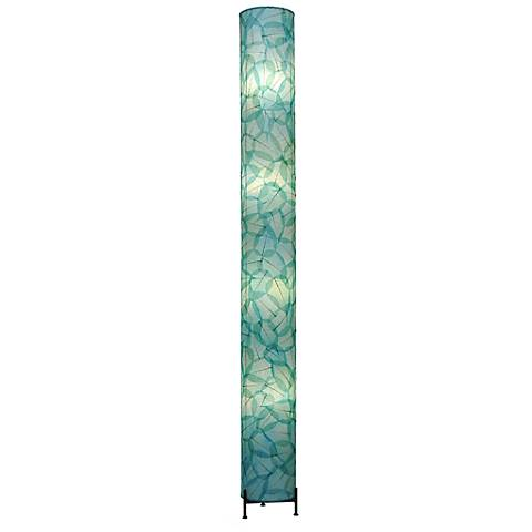 Eangee Banyan Sea Blue Cocoa Leaves Giant Tower Floor Lamp