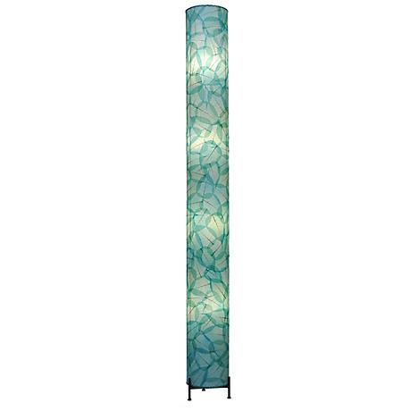 Eangee Banyan Sea Blue Cocoa Leaves Giant Tower Floor Lamp
