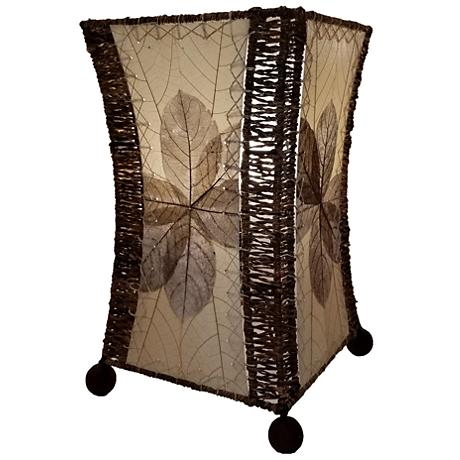 Eangee Hour Glass Natural Cocoa Leaves Uplight Table Lamp