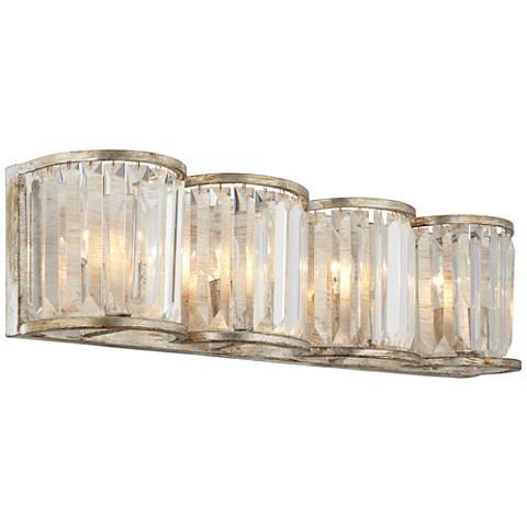 "Soft Silver 4-Light 24"" Wide Crystal Bath Light"