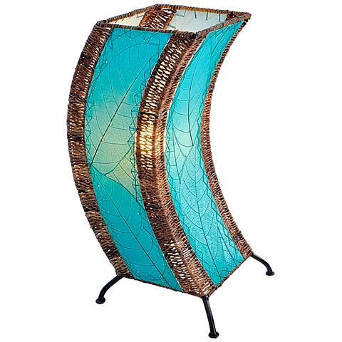 Eangee C-Shape Sea Blue Cocoa Leaves Uplight Table Lamp