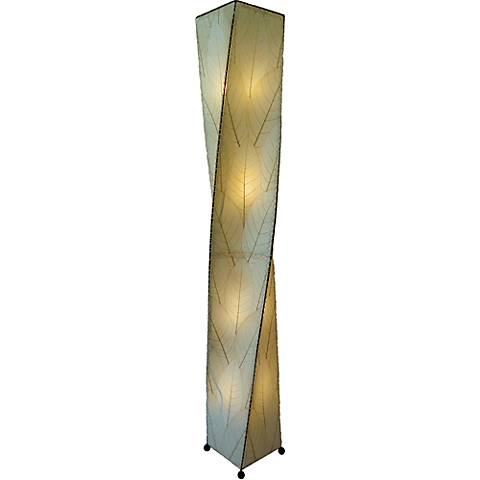 Eangee Twist Natural Cocoa Leaves Giant Tower Floor Lamp