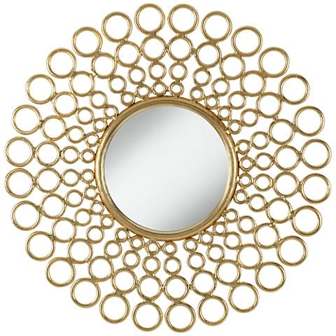 "Samsula Bright Gold 31"" Round Sunburst Wall Mirror"